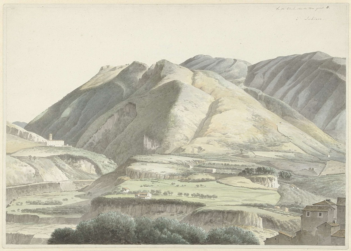 Italiaans landschap bij Subiaco, Josephus Augustus Knip, ca. 1787 - ca. 1847