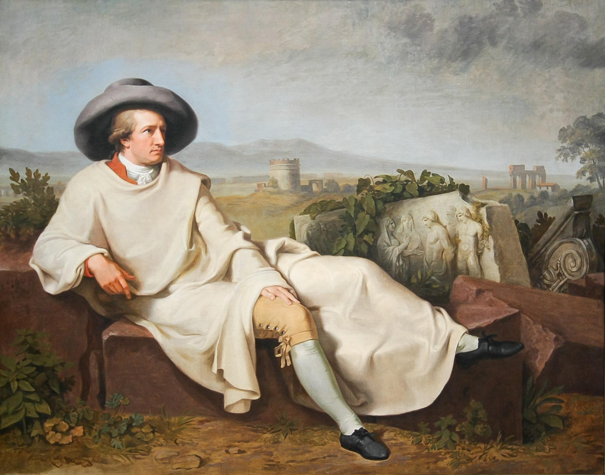 Hij woont bij Tischbein, die een groot schilderij van hem vervaardigt. Johann Heinrich Wilhelm Tischbein, Portret van Goethe