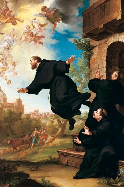'St Josef van Cupertino stijgt op bij zijn bezoek aan de Basiliek van Loreto' door Ludovico Mazzanti (1686-1775).