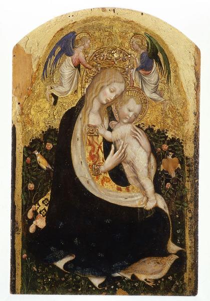 Antonio Pisano detto Pisanello, Madonna col bambino, detta Madonna della quaglia, tempera su tavola