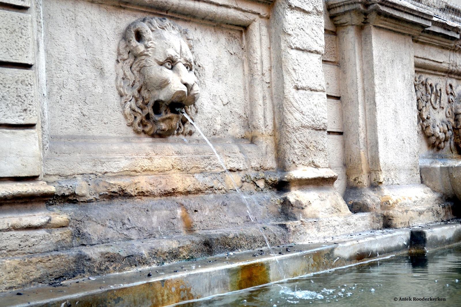 Fontein van een leeuw in Bologna