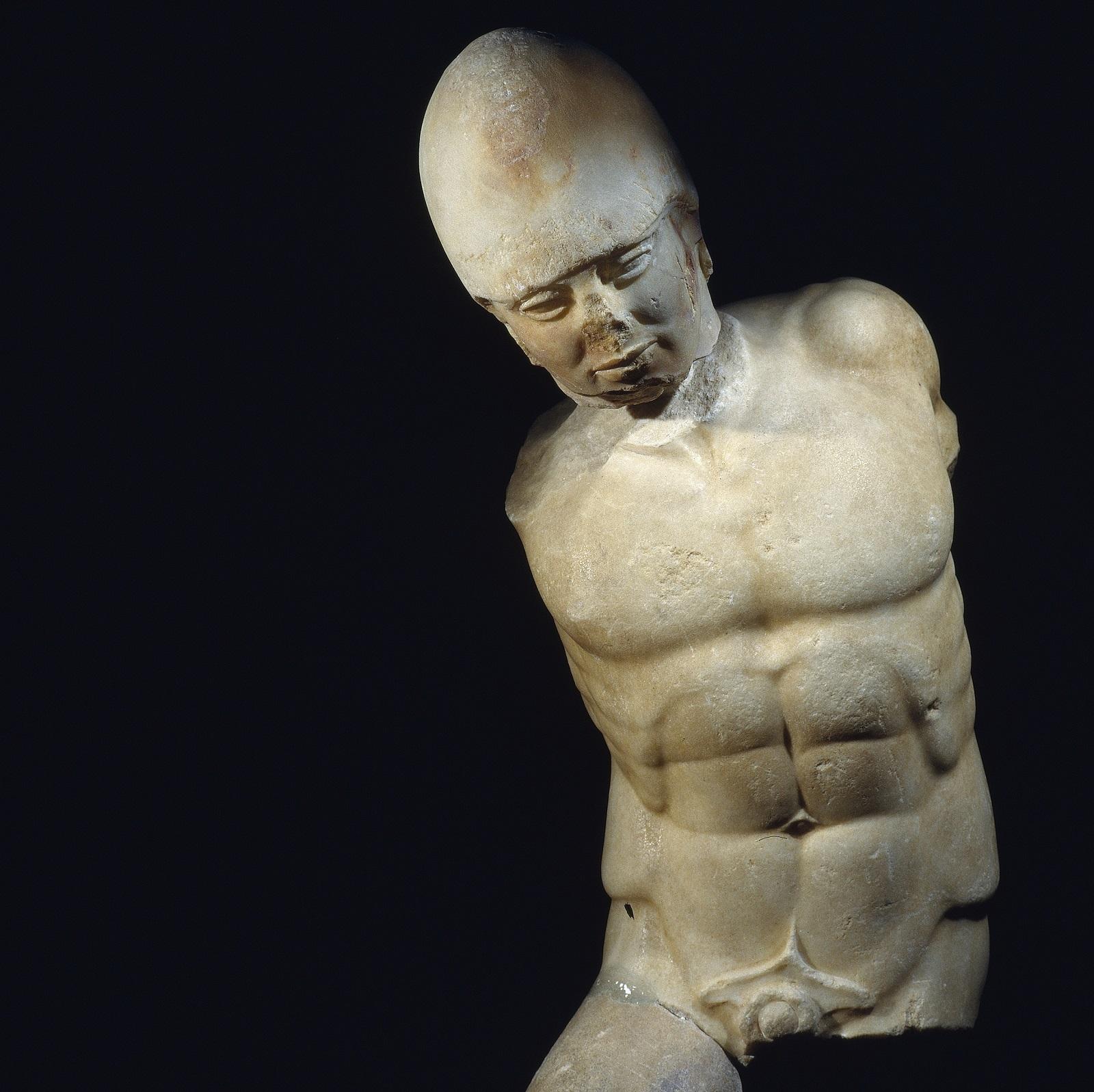 Marmeren standbeeld van een strijder, Akragas, Sicilië, c.470 BC Museo Archeologico Regionale di Agrigento © Regione Siciliana