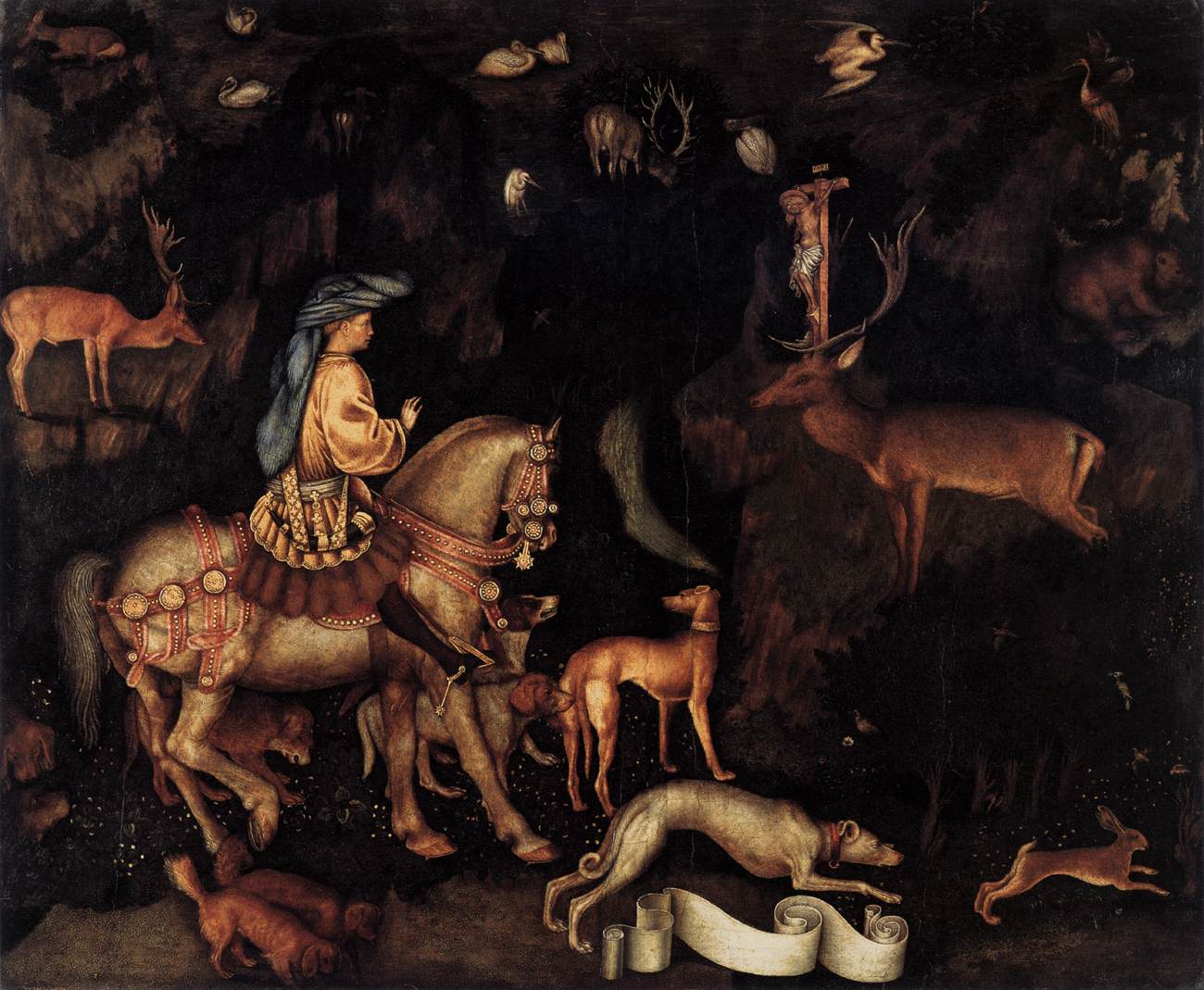 Pisanello, Het visioen van Sint Eustachius, National Gallery, London