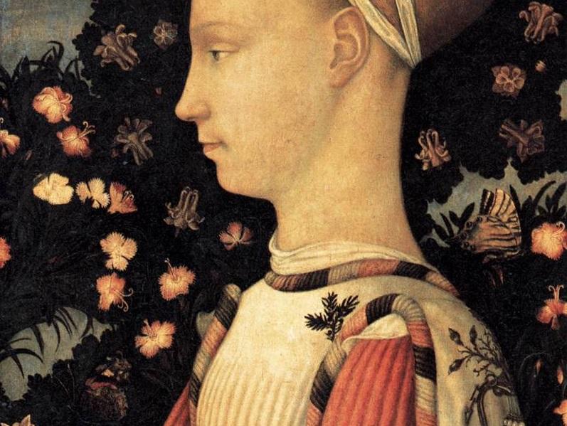 Pisanello, Portret van een prinses van het huis van Este, detail. Musée du Louvre, Parijs