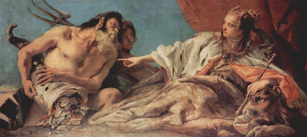 Giovan Battista Tiepolo's Neptunus biedt de rijkdom van de zee aan Venetië, 1748–50, een allegorie op de macht van de Republiek Venetië, omdat de macht en de rijkdom van La Serenissima gebaseerd was op de zee.