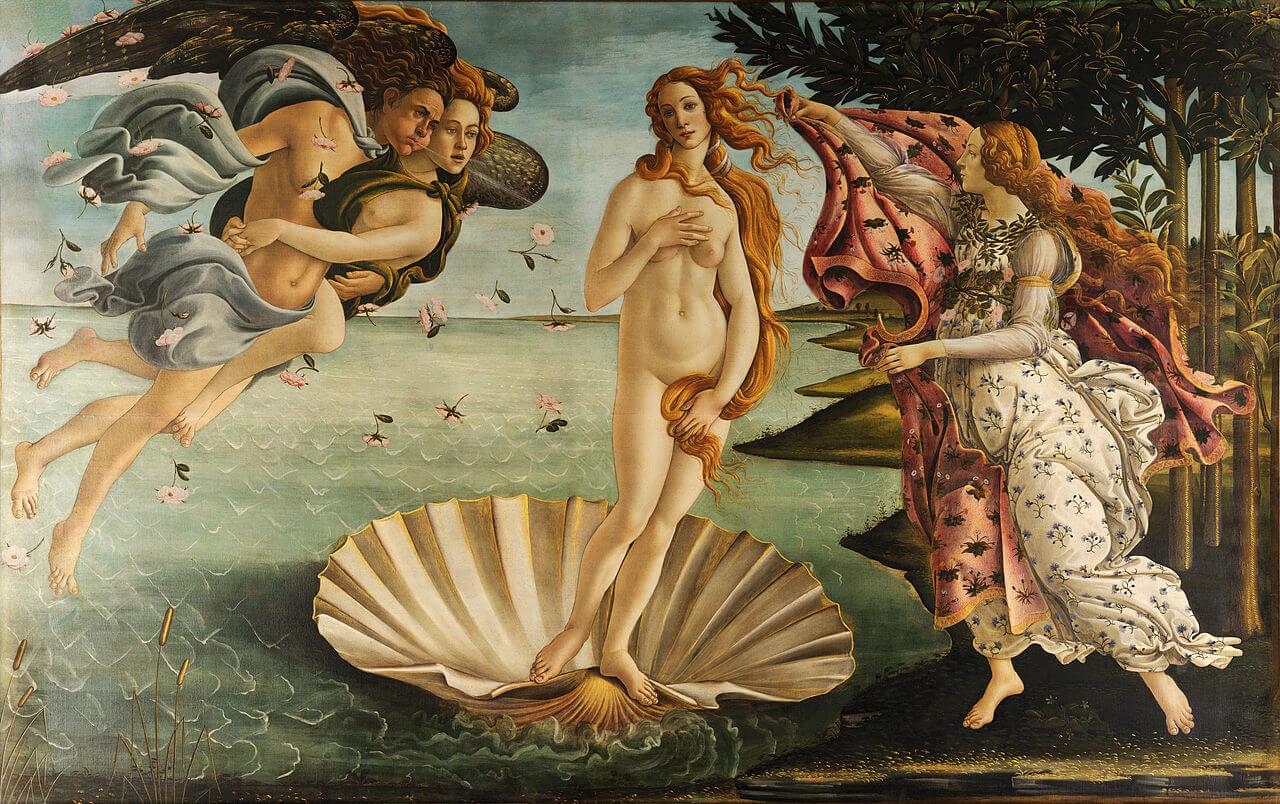 Geboorte van Venus, Sandro Botticelli, Uffizi Florence, Italië