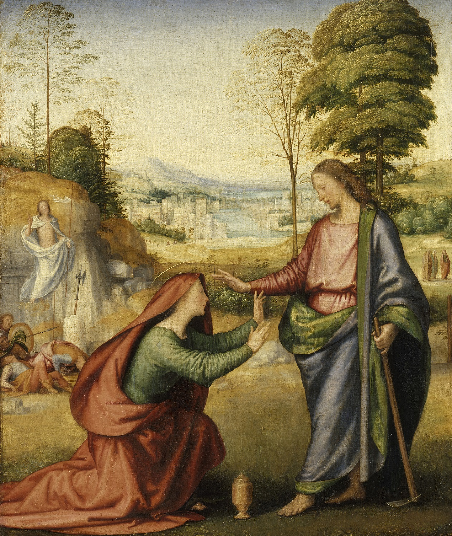 Fra Bartolommeo, Noli me tangere , 1505-1506. Doek (oorspronkelijk paneel), 58 x 48 cm. Parijs, Paris, Louvre Museum, Departement Peinture.