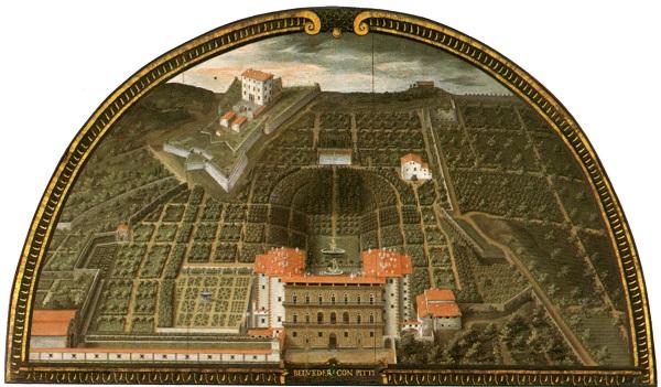 De Giardino di Boboli in Florence door Justus Utens, in de Villa di Artimino