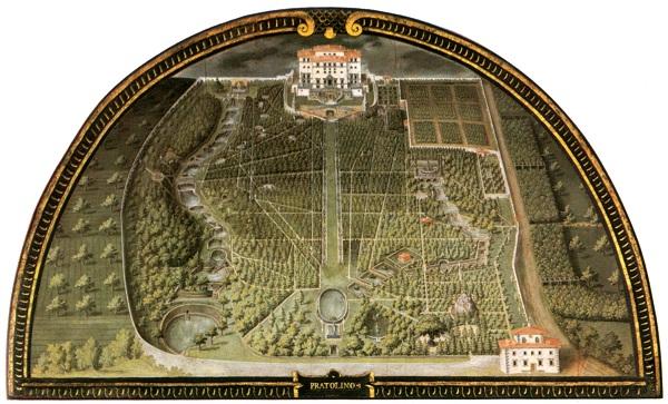 De Parco della Villa Medicea di Pratolino door Justus Utens, in de Villa di Artimino