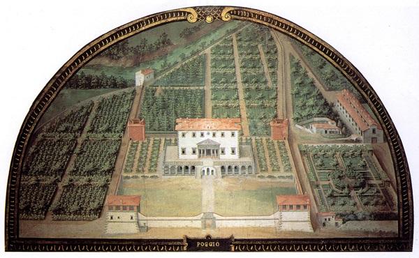 De Villa di Poggio a Caiano door Justus Utens, in de Villa di Artimino