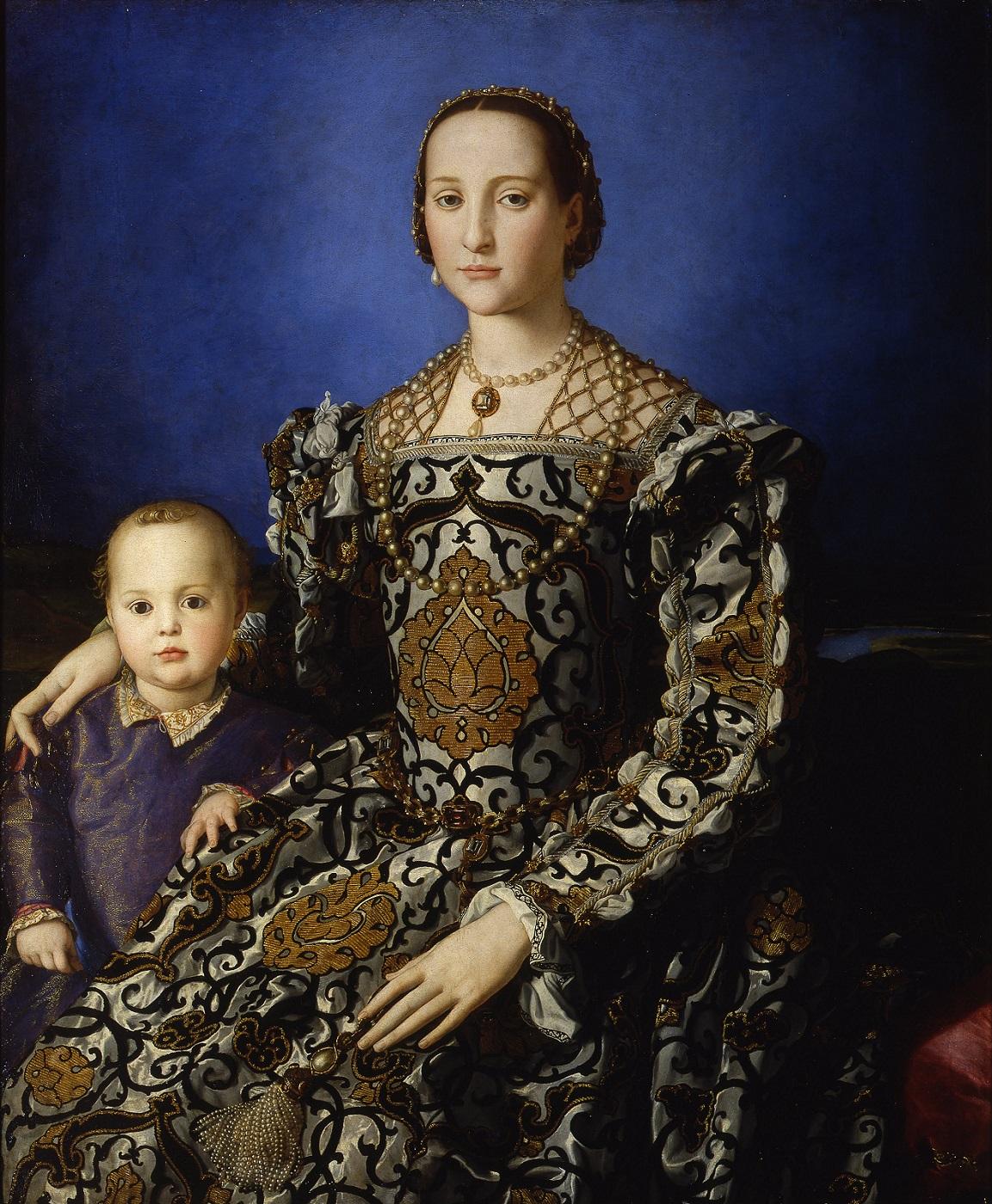 Portret van Eleonora di Toledo en haar zoon Giovanni door Agnolo Bronzino, 1545, Galleria degli Uffizi, Florence