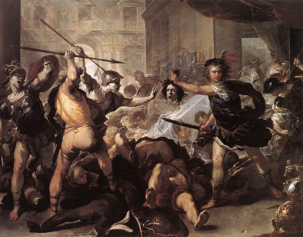 Luca Giordano, Phineas en de zijnen veranderd in steen (ca. 1680). National Gallery, Londen
