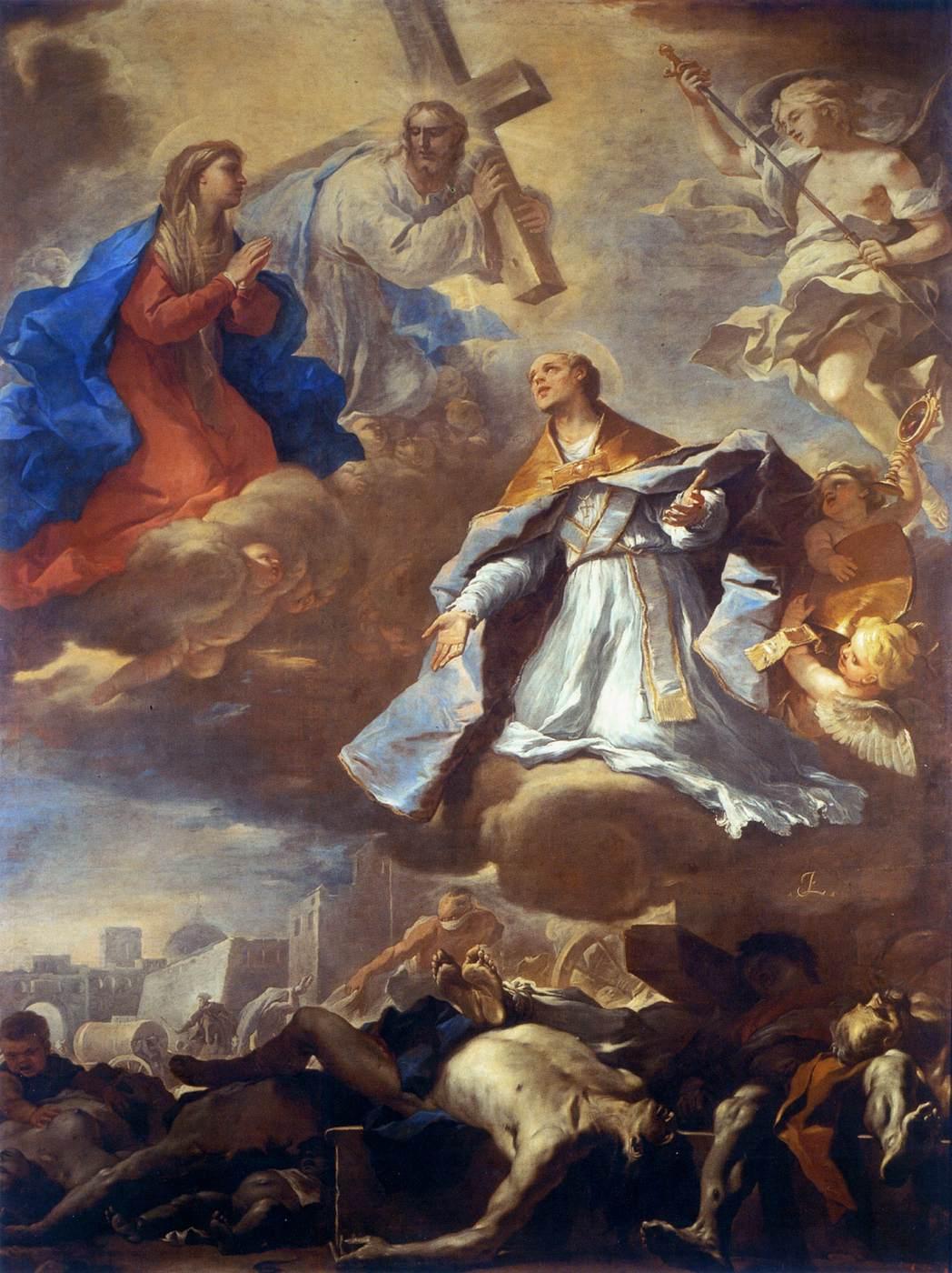 Luca Giordano, San Gennaro bevrijdt Napels van de pest (ca. 1660),Santa Maria del Pianto, Napels