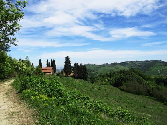 Smalle paden slingeren zich door het Toscaanse landschap