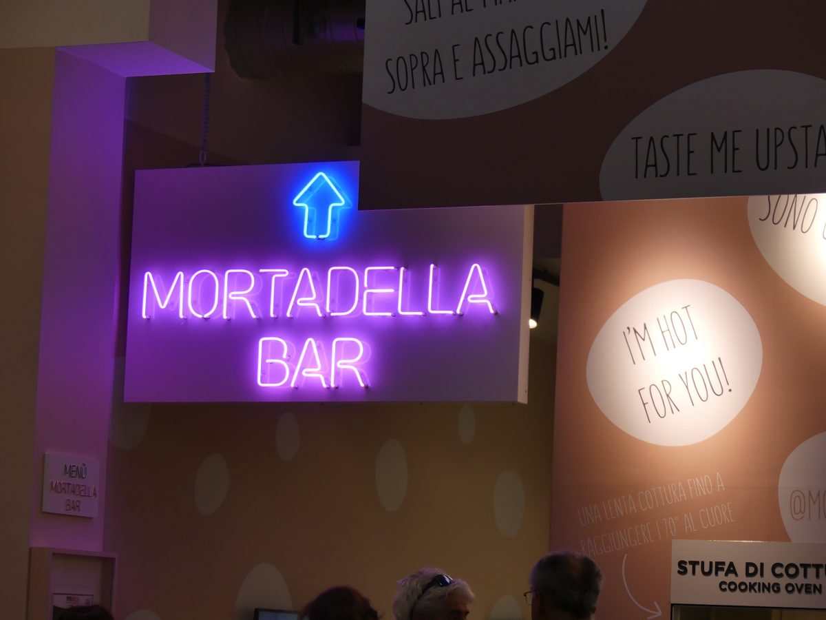 Mortadella bar in neon letters