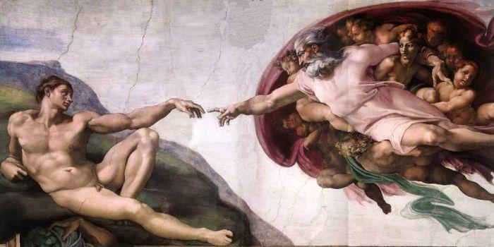 De schepping van Adam door Michelangelo. Wereldberoemd is dit stukje fresco handen van God en Adam bij elkaar komen.