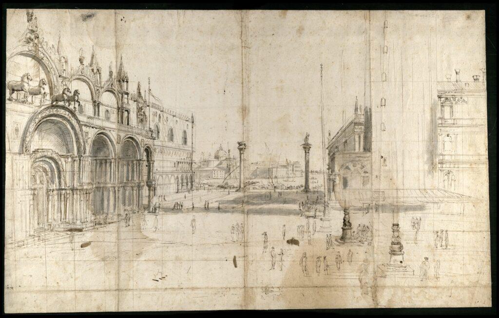 Caspar van Wittel, Veduta van het Piazzetta di San Marco, datering onbekend, pen in inkt en wassing op papier, 36,1 x 112 cm, DIS.3.II.3, Biblioteca Nazionale Centrale, Rome