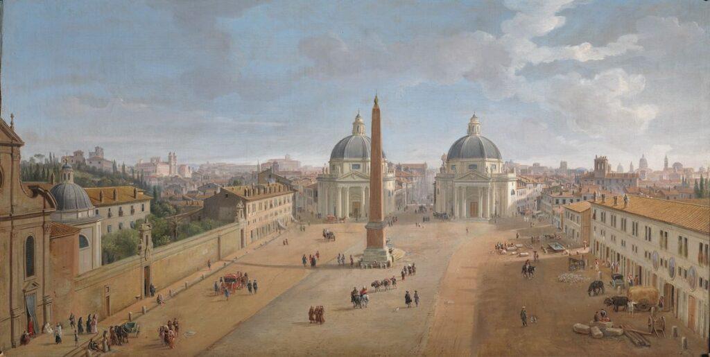 Caspar van Wittel, Gezicht op Rome met Piazza del Popolo, 1718, olieverf op doek, 56 x 109 cm, Intesa Sanpaolo Collection Gallerie di Palazzo Zevallos Stigliano, Naples