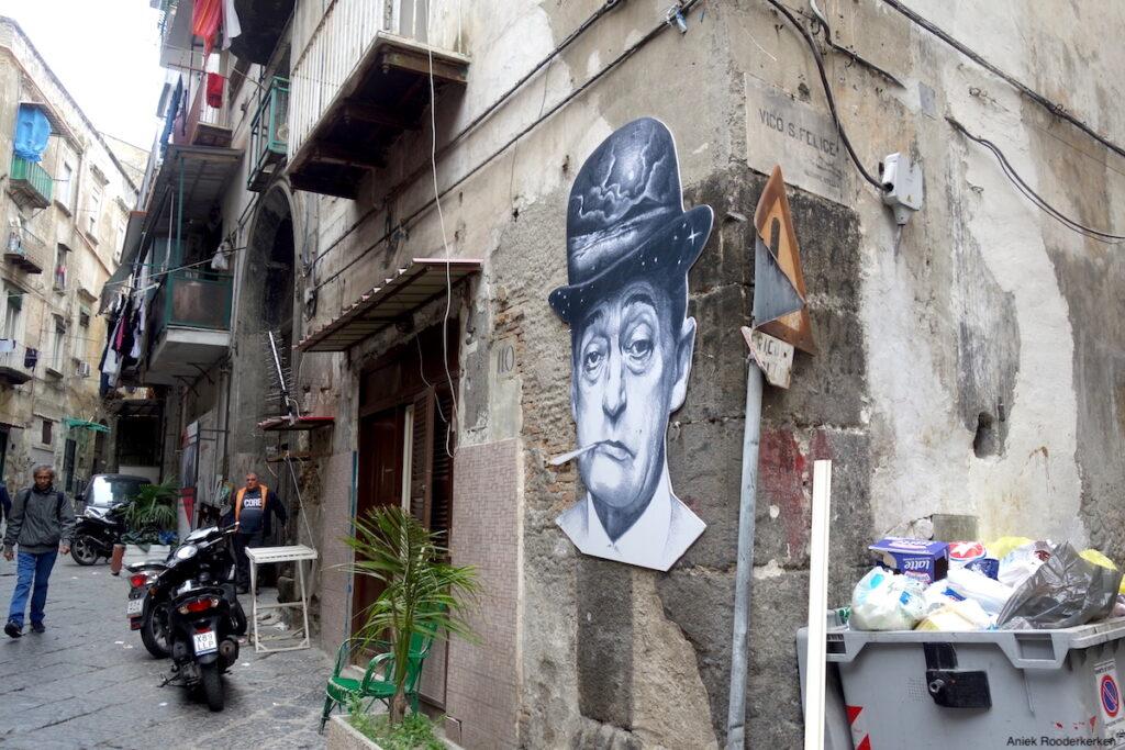 Street art van de Italiaans acteur en komiek Totò in Rione Sanità