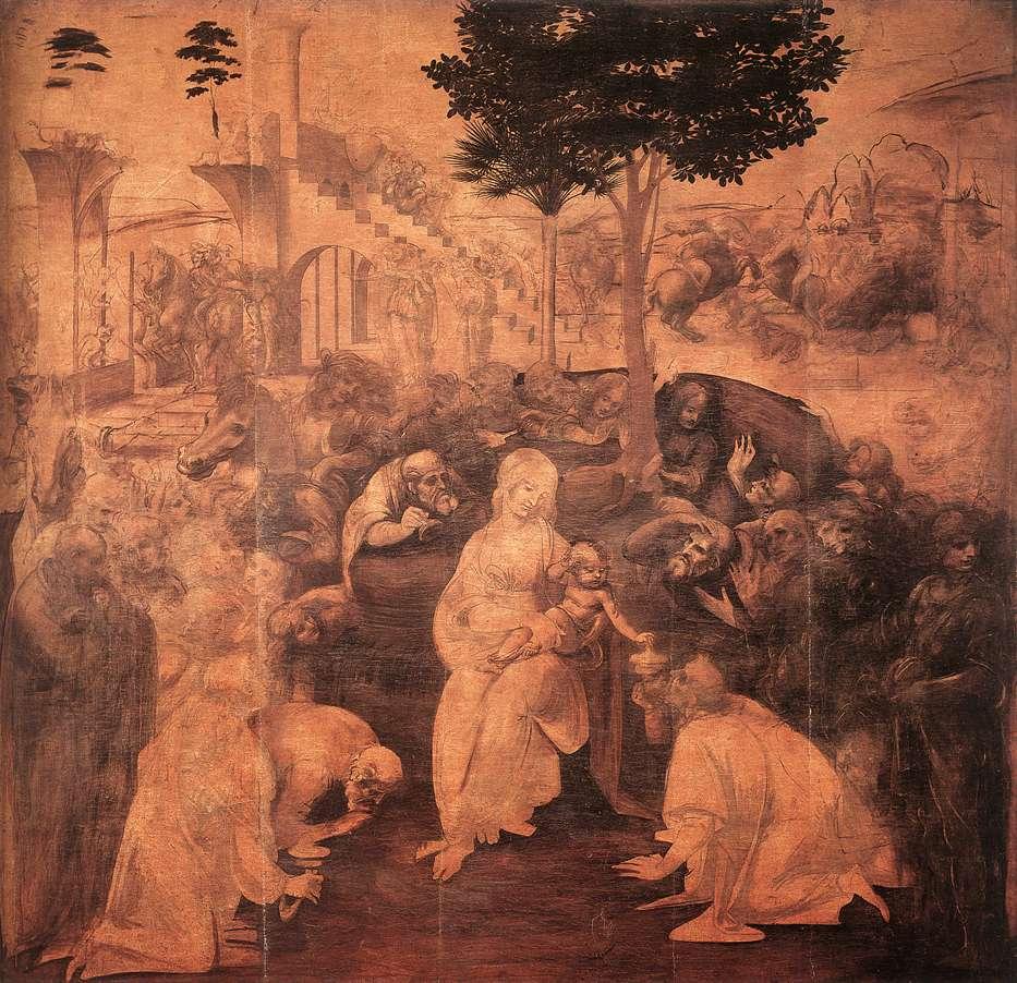 Aanbidding der Wijzen, Leonardo da Vinci