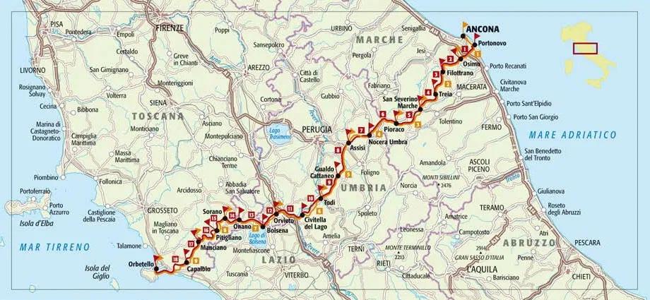 Te voet of op de fiets van kust naar kust in Italië